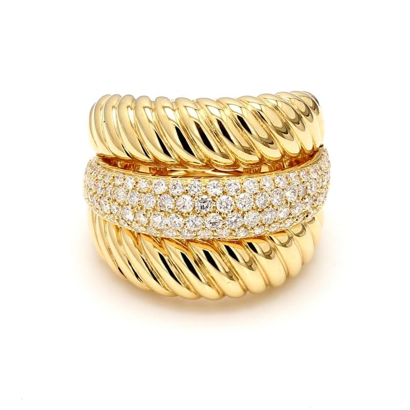 Triple Stack Pave Diamond Ring in 18k Yellow Gold