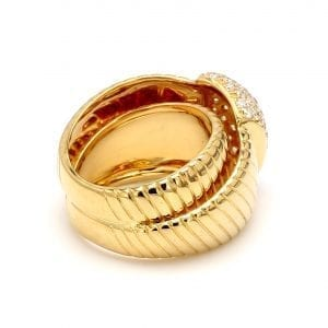 Diamond Station Ribbed Ring in 14k Yellow Gold