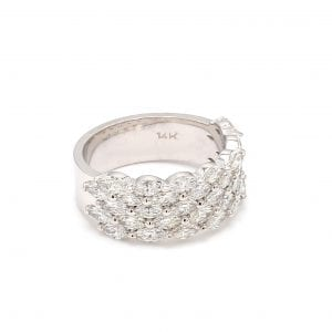 Marquise Diamond Multi-Row Ring in 14k White Gold