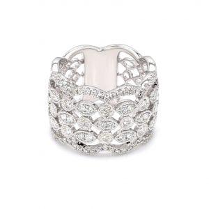 Diamond Lattice Ring in 14k White Gold