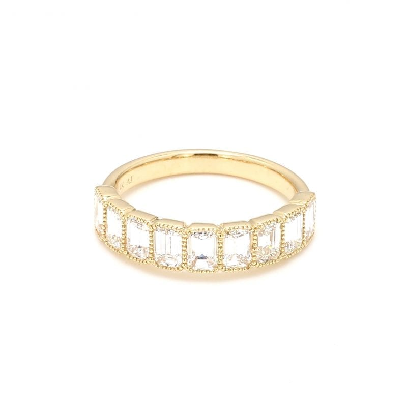 Emerald Cut Diamond Milgrain Ring in 14k Yellow Gold