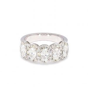 Oval Diamond Halo Ring in 14k White Gold