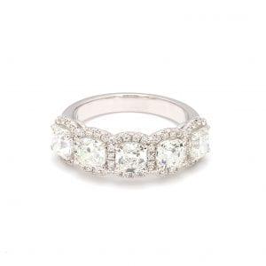 Cushion Cut Diamond Five Stone Ring in 14k White Gold