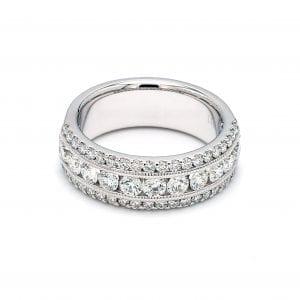 Triple Row Diamond Ring in 14k White Gold