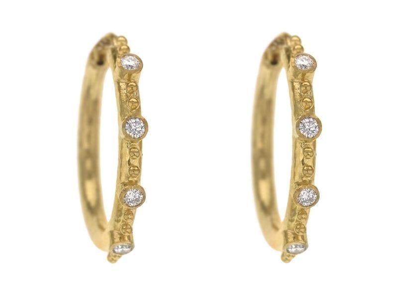 Elizabeth Locke 19k Yellow Gold Giant Hoop Earrings with Diamonds
