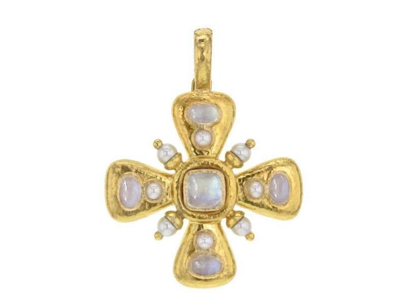 Elizabeth Locke 19k Yellow Gold Maltese Cross Pendant with Pearl and Moonstone