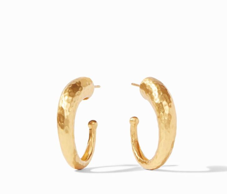 Julie Vos 24kt Yellow Gold Plate Small Hammered Hoop Earrings