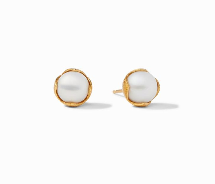 Julie Vos 24kt Gold Plate Small Penelope Pearl Stud Earrings