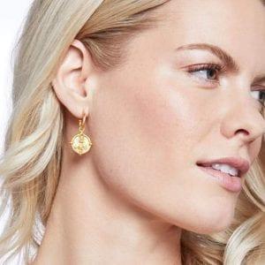 Julie Vos 24kt Yellow Gold Plate Bee Hoop & Charm Earrings