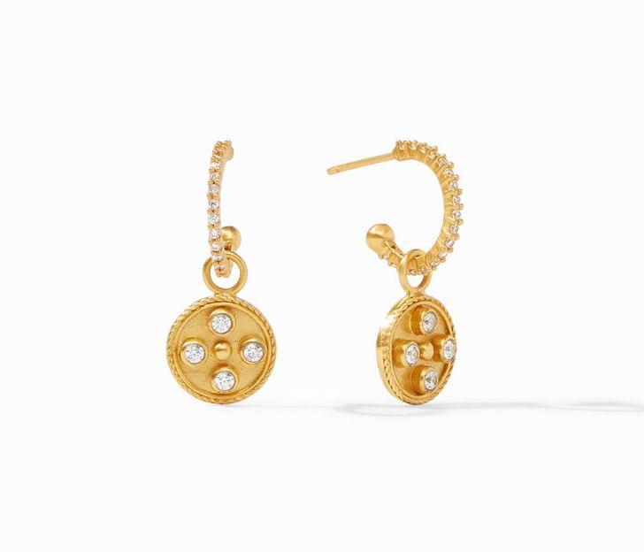 Julie Vos 24kt Yellow Gold Plate Paris Hoop & Charm Earrings