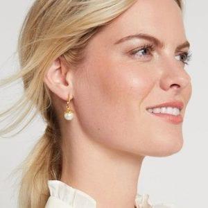 Julie Vos 24kt Yellow Gold Plate Chloe Hoop & Charm Earrings