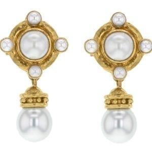 Elizabeth Locke Mabe Pearl Detachable Drop Earrings in 19kt Yellow Gold