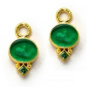 elizabeth locke gold earring charms with tsavorite