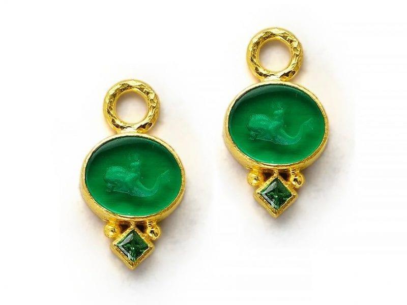 elizabeth locke gold earring charms with tsavorite