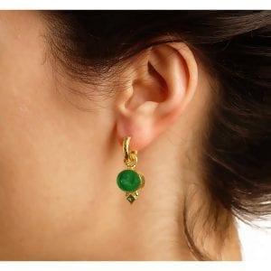 elizabeth locke gold earring charms with tsavorite on model