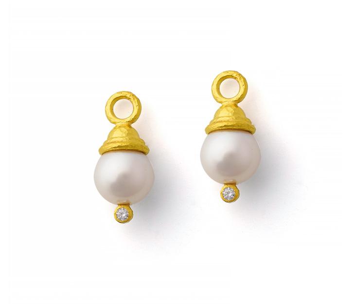 Elizabeth Locke 19kt Yellow Gold Pearl Earring Pendants with Diamonds
