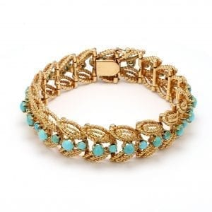 Bailey's Estate Turquoise Bead Leaf Bracelet in 14k Yellow Gold