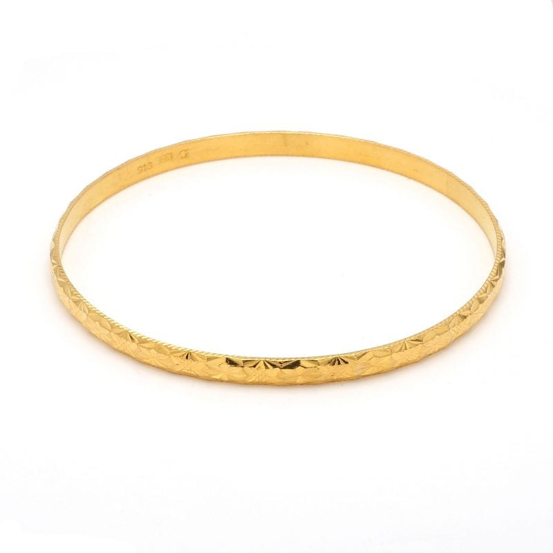 Bailey's Estate Etched Bangle Bracelet in 22k Yellow Gold
