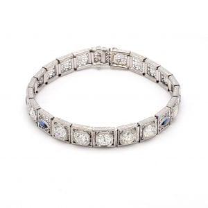 Bailey's Estate Sapphire and Diamond Art Deco Bracelet in 14k White Gold
