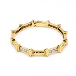 Bailey's Estate Diamond Bar Link Bracelet in 18k Yellow Gold