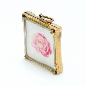 Bailey's Estate Glass Locket in 14k Yellow Gold