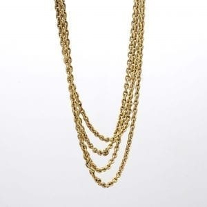 Bailey's Estate 4 Strand Rolo Chain Necklace in 14k Yellow Gold