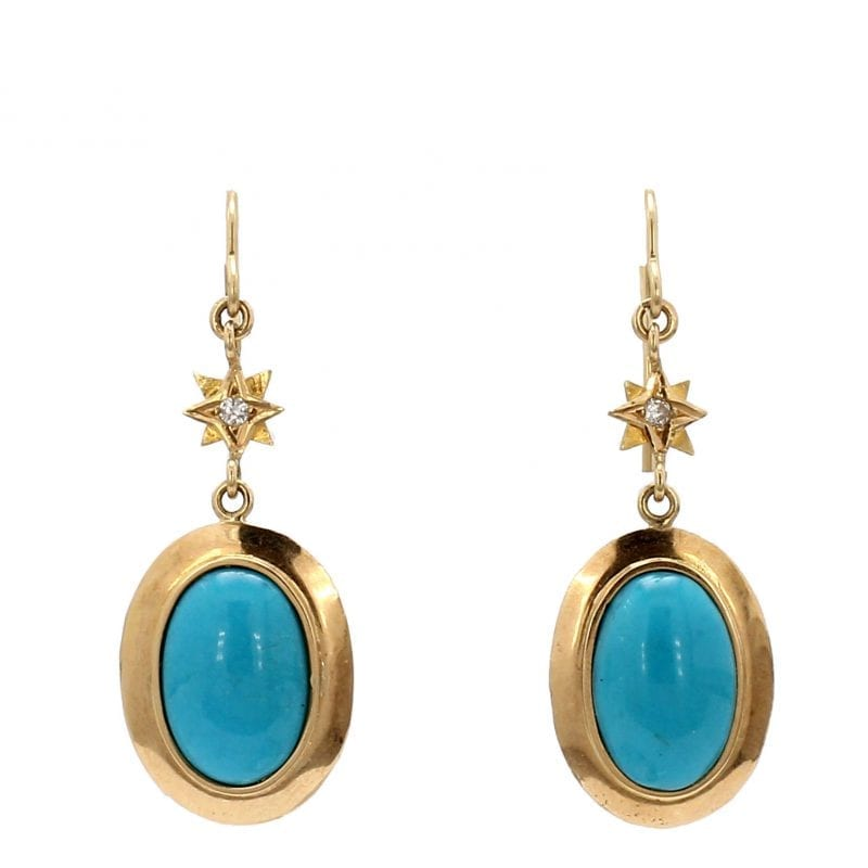 Bailey's Estate Drop Earrings with Diamond and Turquoise in 14k Yellow Gold