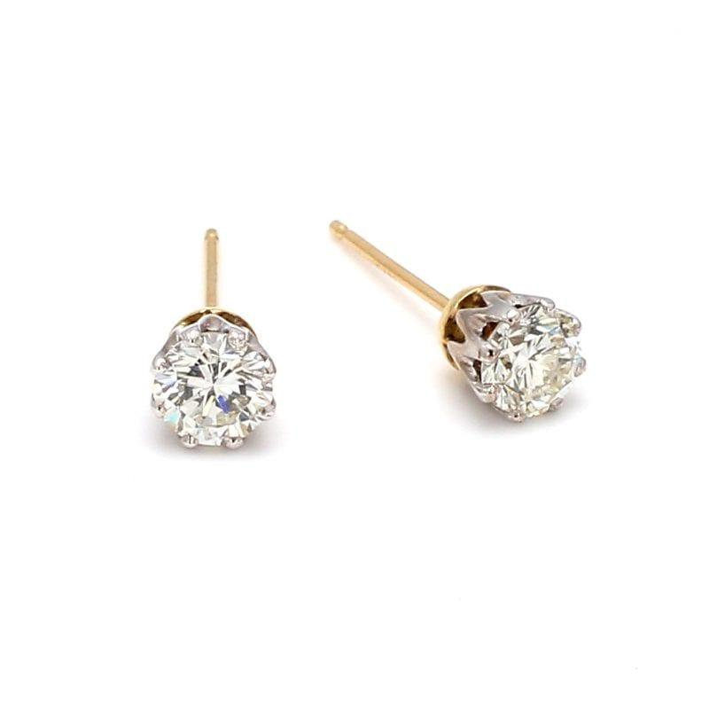 Bailey's Estate Two Toned 8-Prong Diamond Stud Earrings
