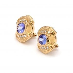 Bailey's Estate Tanzanite and Diamond Stud Earrings in 14k Yellow Gold