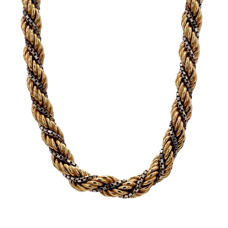 Bailey's Estate Twist Rope and Box Chain Necklace in 14k Yellow and White Gold