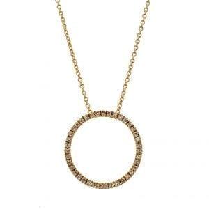 Bailey's Estate Diamond Circle Pendant Necklace in 18k Yellow Gold