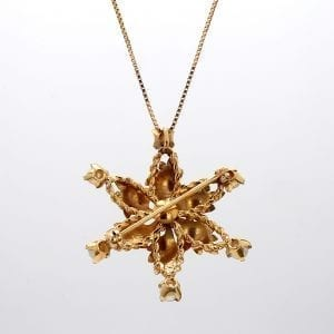 Bailey's Estate Pearl Foliate Star Pendant in 14k Yellow Gold