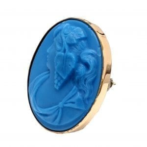 Bailey's Estate Oval Blue Glass Cameo in 14k Yellow Gold