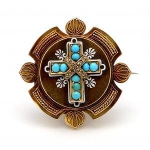 Bailey's Estate Pin with Cross Design in Turquoise and Diamond set in 14k Yellow Gold