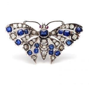 Bailey's Estate Vintage Butterfly Pin with Diamond and Sapphire in 14k White Gold
