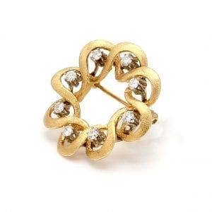 Bailey's Estate Ribbon Wreath Pin with Diamond in 14k Yellow Gold