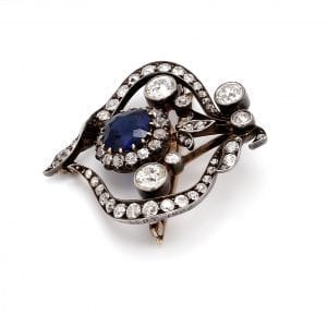 Bailey's Estate Pin with Sapphire and Diamonds in 14k White Gold