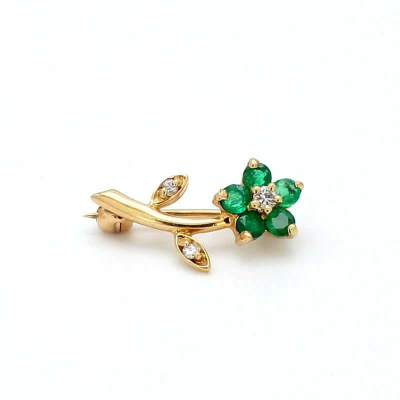 Bailey's Estate Flower Pin with Emeralds and Diamonds in 14k Yellow Gold