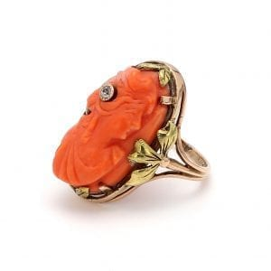 Bailey's Estate Coral Cameo Ring in 14k Yellow and Rose Gold
