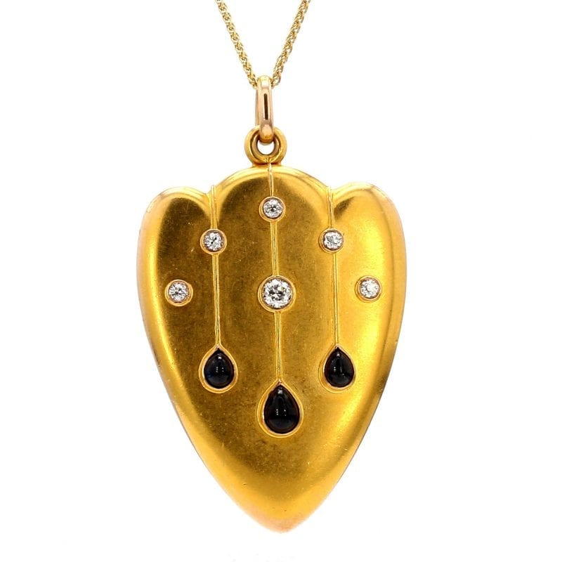Bailey's Estate Shield Diamond & Sapphire Locket in 14k Yellow Gold/Gold Plating