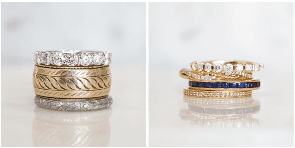 Close up images of 2 ring stacks from Bailey's Fine Jewelry's estate jewelry collection
