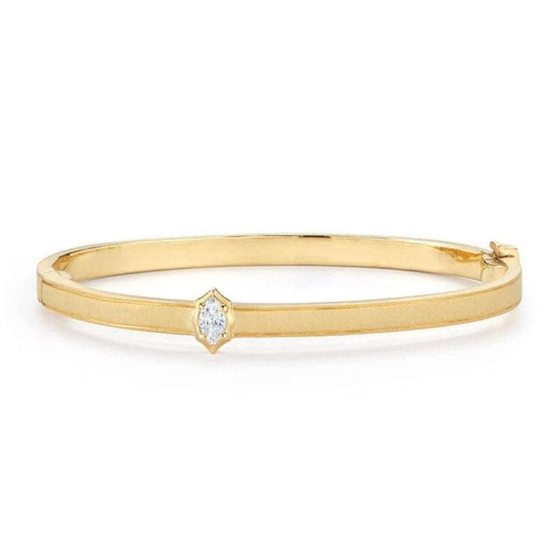 yellow gold bracelet with marquise diamond accent