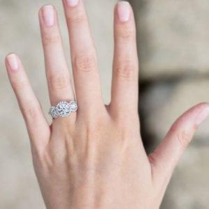 Forevermark Round Three Stone Halo Engagement Ring Setting
