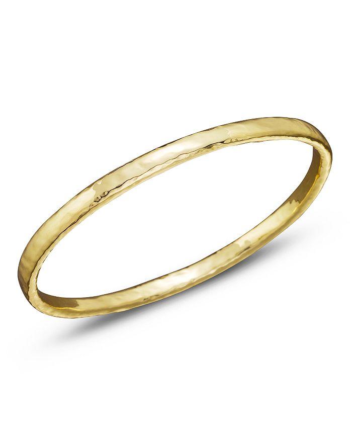 Ippolita Classico Flat Hammered Bangle in 18k Yellow Gold