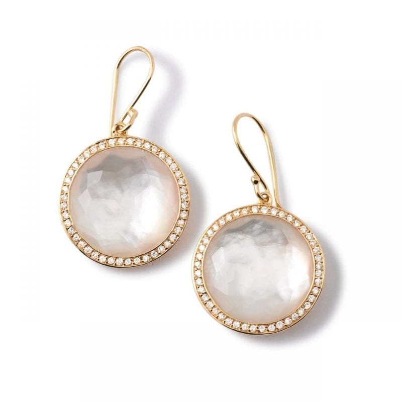 Ippolita Round Mother of Pearl Drop Earrings in 18k Gold with Diamonds