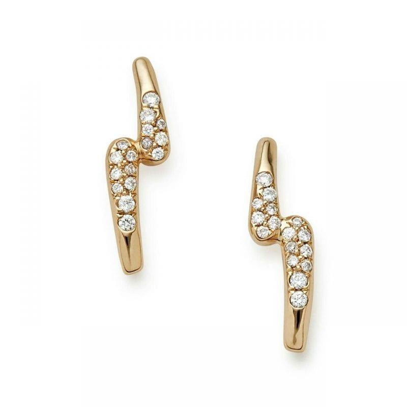 Ippolita Stardust 18k Gold Studs with Diamonds