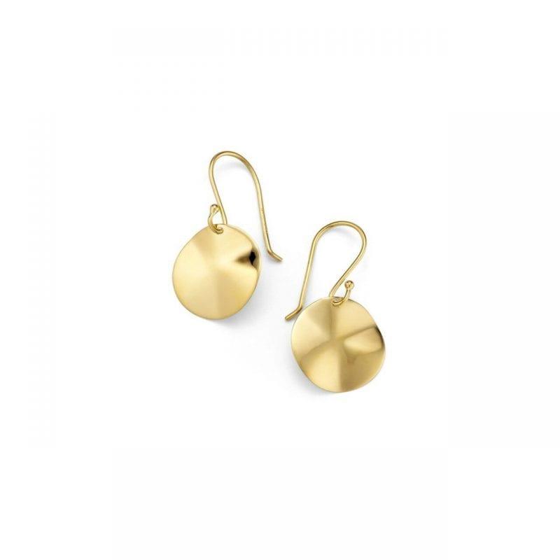 Ippolita Mini Wavy Disc Earrings in 14kt Yellow Gold