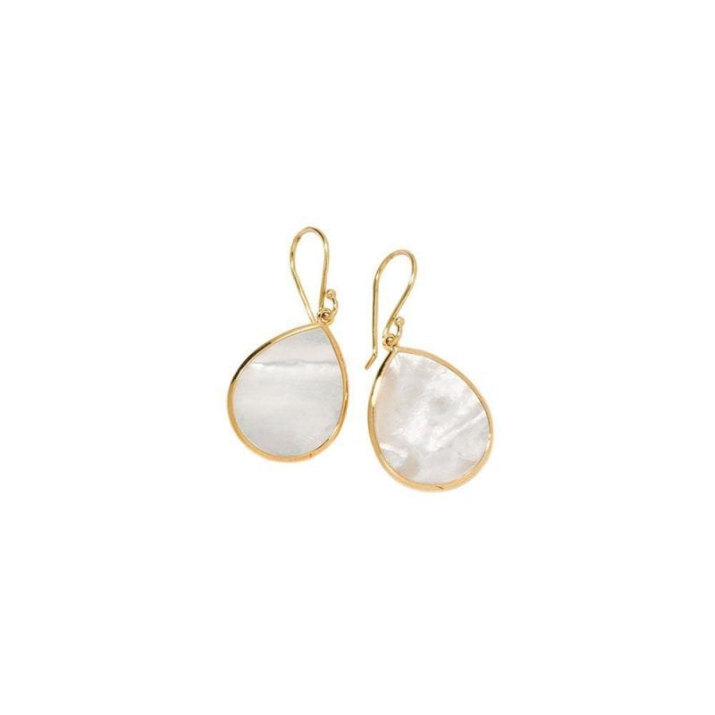 ippolita small gold earrings with mother of pearl stones