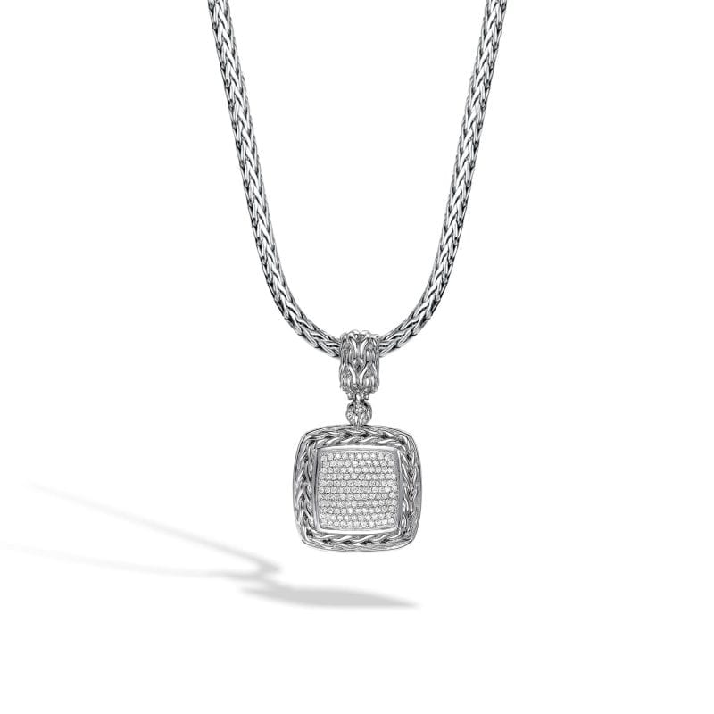 John Hardy medium silver and diamond pendant enhancer shown as suspended from silver chain with braided detailing. Chain sold separately.
