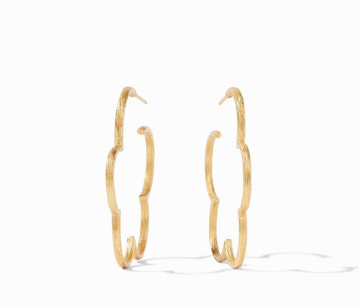 Julie Vos 24kt Yellow Gold Plate Gardenia Textured Hoop Earrings